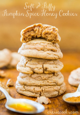 Soft and Puffy Pumpkin Honey Cookies from Averie Cooks